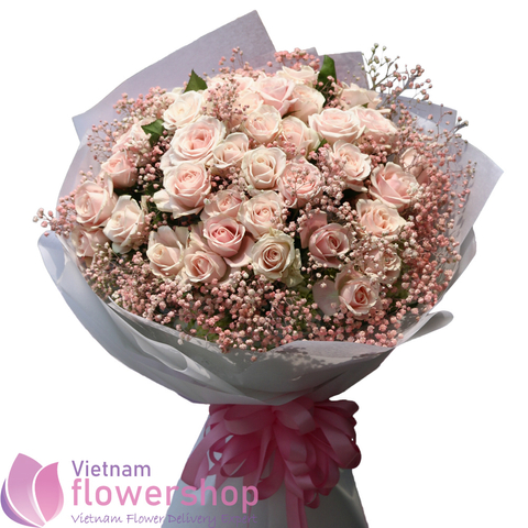 Pink roses bouquet same day delivery