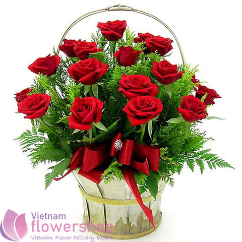 Vietnam birthday flowers with red roses basket