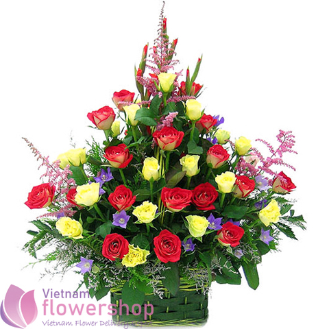 Birthday flowers basket in Vietnam