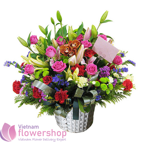 Vietnam basket flowers for birthday