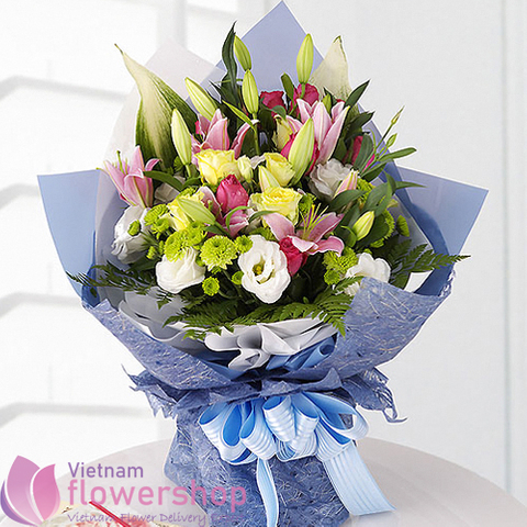 Mixed flowers bouquet for birthday in Vietnam