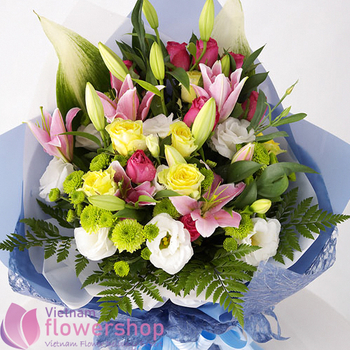 Mixed flowers for birthday in Vietnam