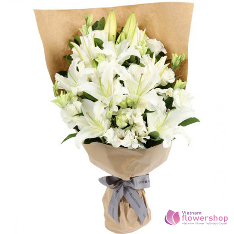 Bouquet white lilies beautiful in Vietnam