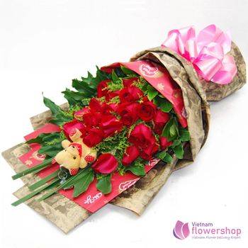 Red roses bouquet delivery in Phu Quoc