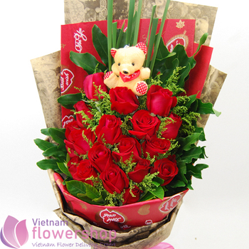 Red roses bouquet delivery in Phu Quoc Vietnam