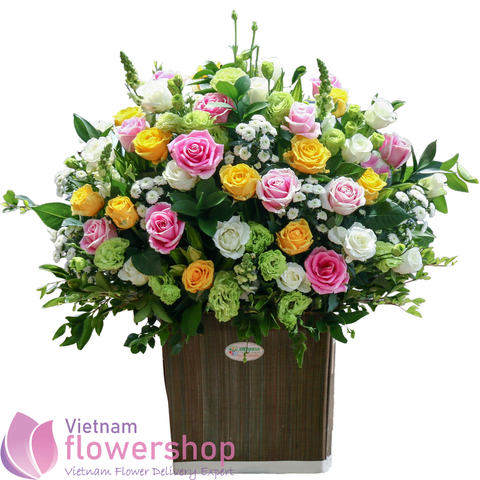 Beautiful basket of roses in Vietnam Flower Shop