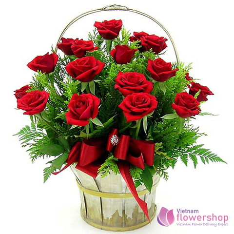 Beautiful red roses basket in Hochiminh City