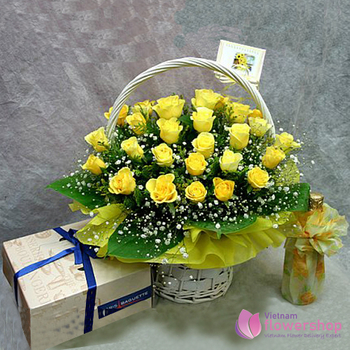 Vietnam Flower Shop Yellow roses basket