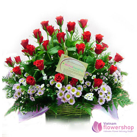 Red roses basket free shipping in Vietnam