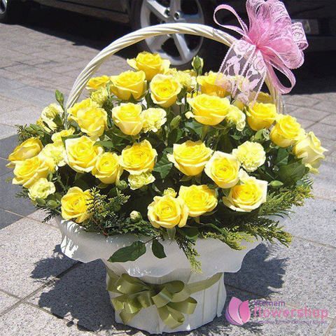 Basket of yellow roses order online