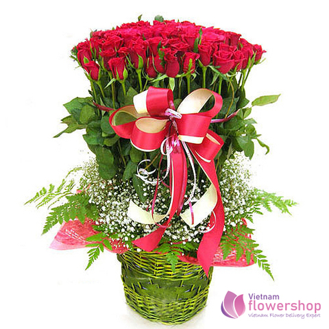 Red roses basket delivery same day in Vietnam