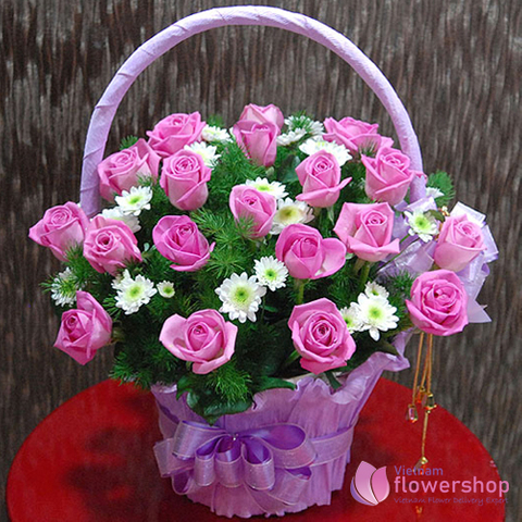 Vietnam Pretty pink roses basket beautiful