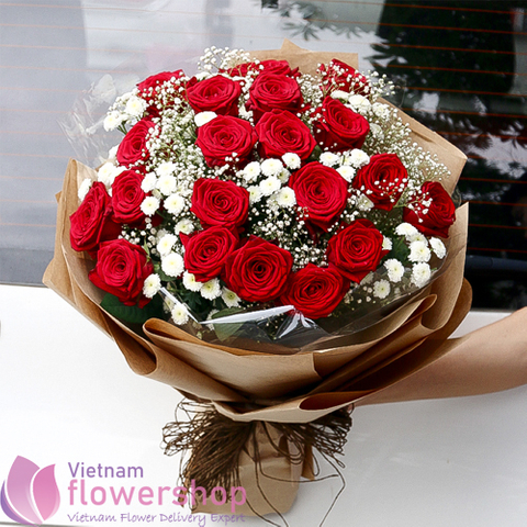 Vietnam red roses bouquet lovely