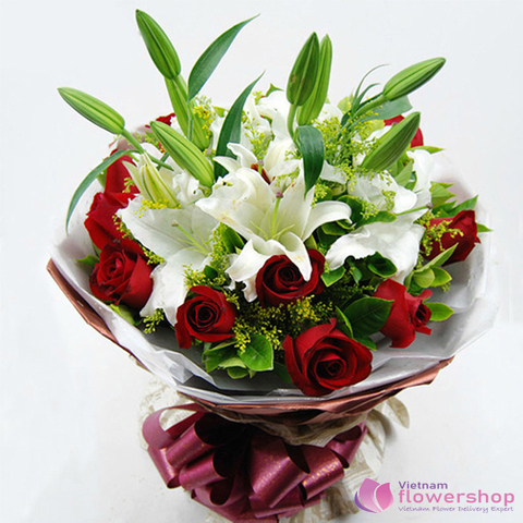 White Lilies mixed 12 red roses