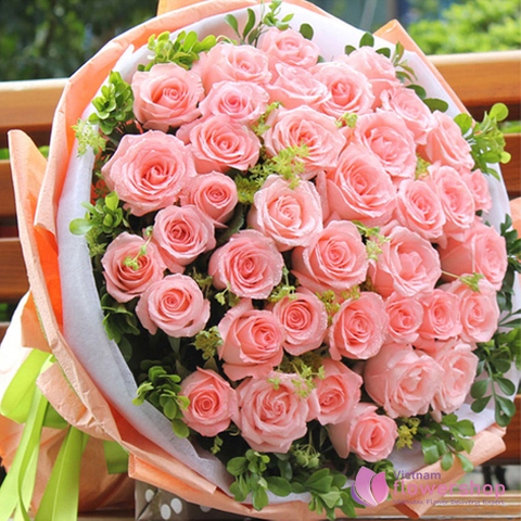 Pink rose bouquet for birthday in Phu Quoc