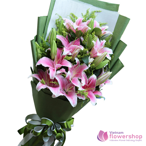 Pink lily flower arrangement Hanoi city