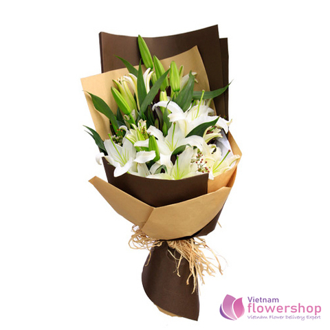 Beautiful white lily flowers in Vietnam flowers