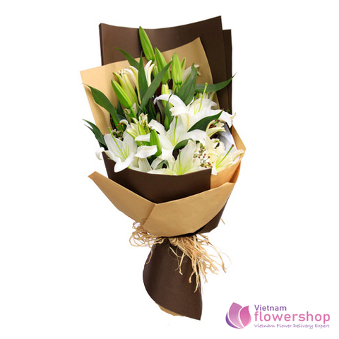 Bouquet of white lily arrangements