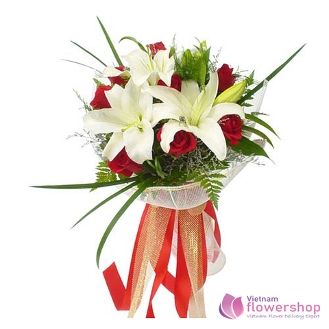 Valentines day bouquet red roses and white lily
