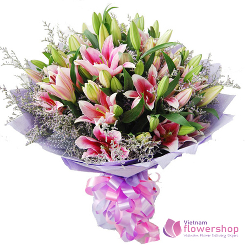 Pink lily bouquet send to HaiPhong