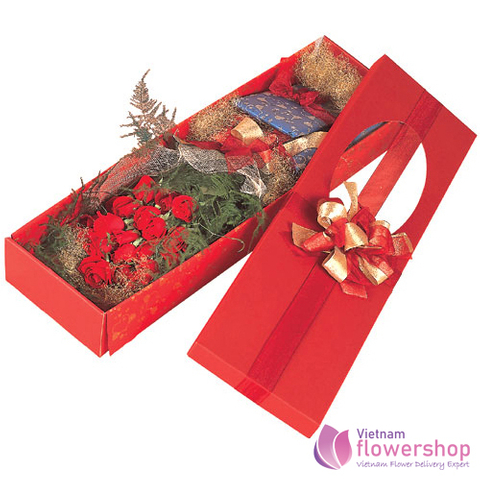 Vietnam Box red roses free shipping