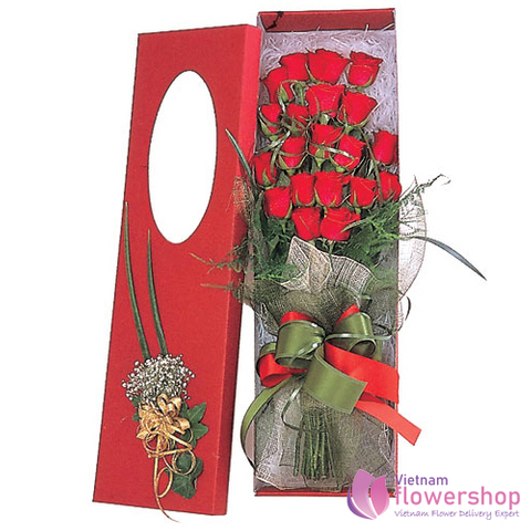 Red roses in box free shipping Hanoi Vietnam