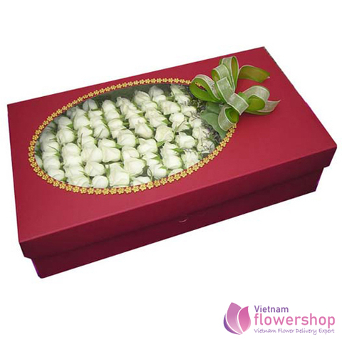 99 white roses in box send to Vietnam