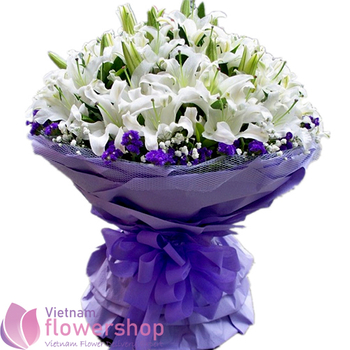 Bouquet of white lily flowers in Vietnam