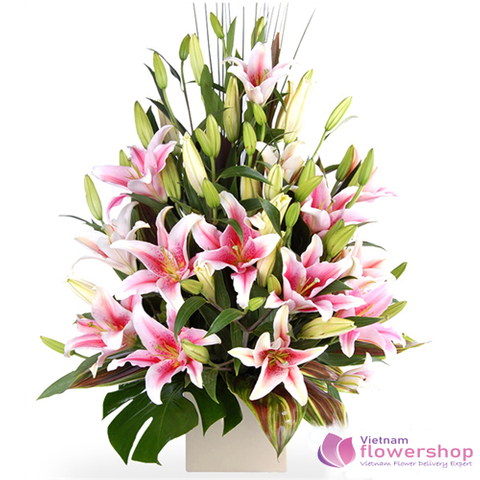 Pink lily flower basket beautiful