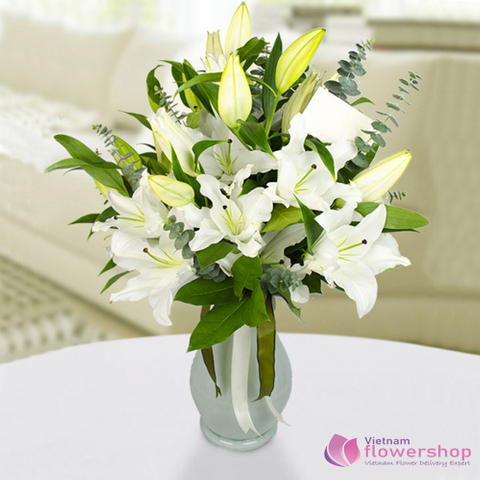 Vietnam flowers in a vase with white lilies