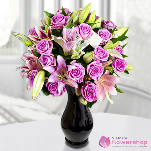 Vietnam Purple flowers in vase gifts