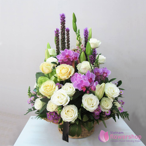 Basket of mixed flowers for female boss