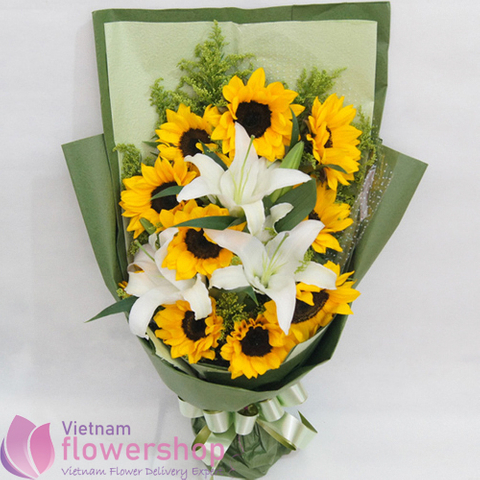 Lilies with sunflower bouquet in Saigon