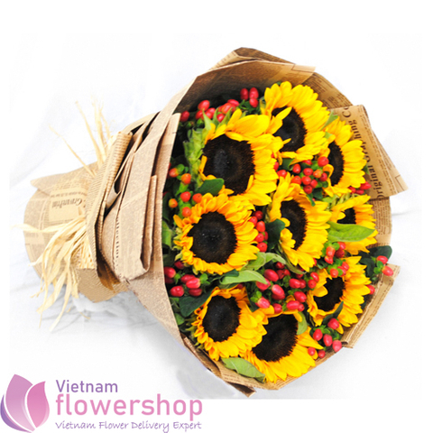 Buy sunflower bouquet online to Haiphong