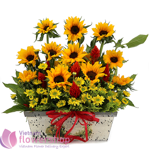 Sunflowers basket same day delivery to Vietnam