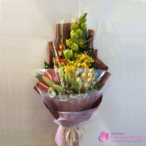 Orchid bouquet arrangement send to Vietnam