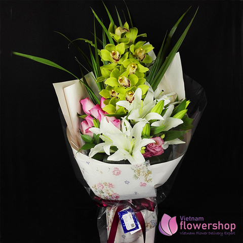 Vietnam flower bouquet with orchid and white lilies