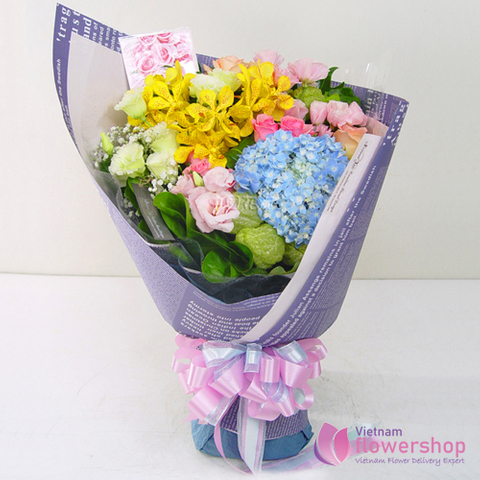 Order flowers mixed orchid delivery for boss