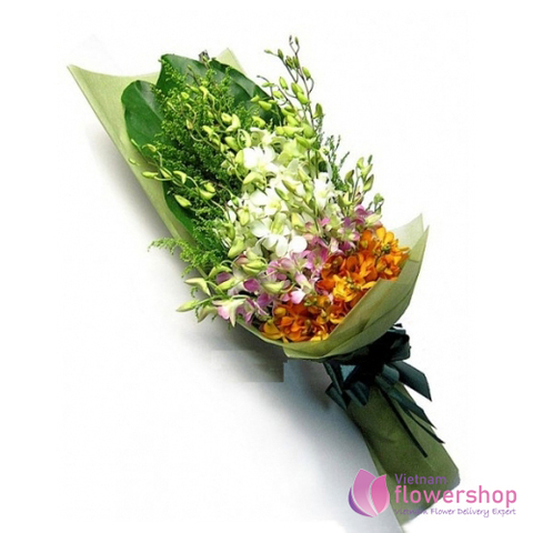 Small orchid flower bouquet free delivery vietnam
