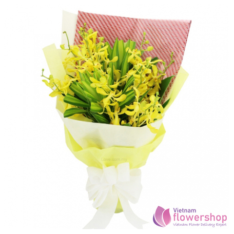 Monkara Orchid bouquet with yellow