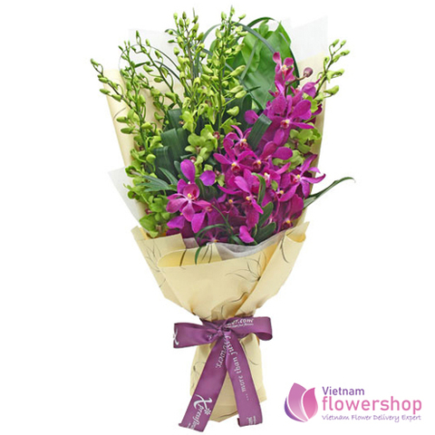 Orchid flowers bouquet delivery Hai Ba Trung District