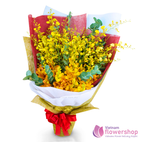 Yellow orchid bouquet delivery Vietnam