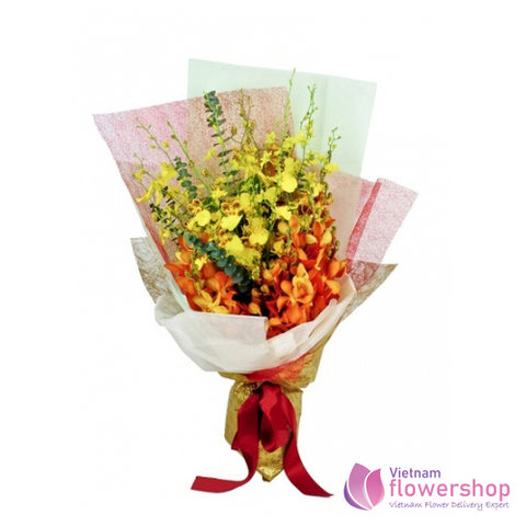 Beautiful orchid bouquet free ship in Vietnam