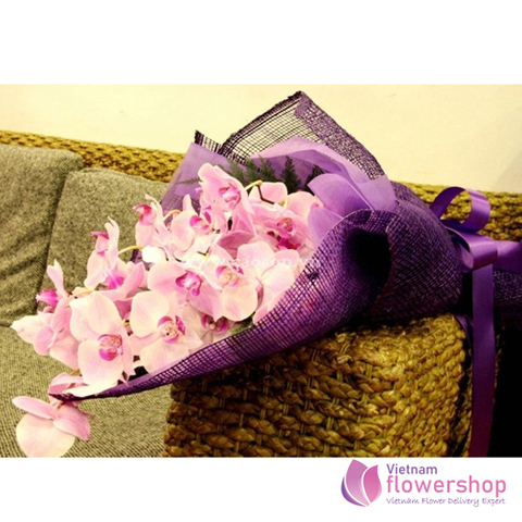 Pink orchid bouquet for delivery in Vietnam