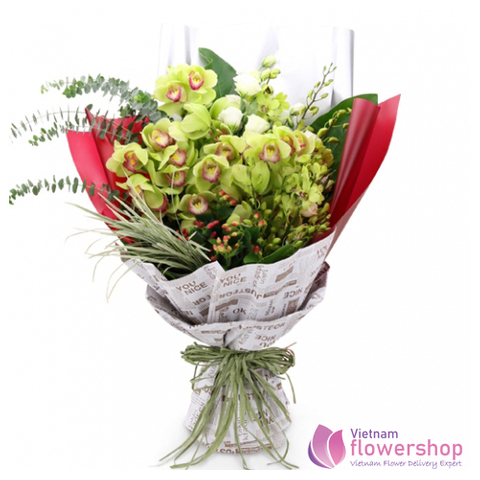 Green orchid flower bouquet same day delivery