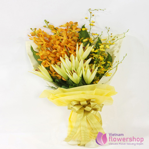 Orchid flowers bouquets congratulations grand opening