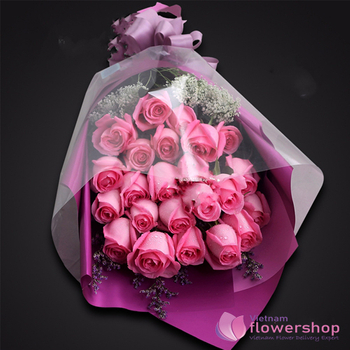 Vietnam Pink roses bouquet same day delivery