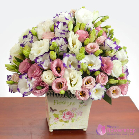 Basket of lisianthus flowers in Vietnam