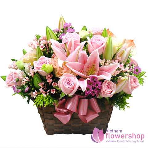 Pink flowers arrangement delivery Nha Trang City