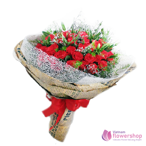 Bouquet of lovely red roses